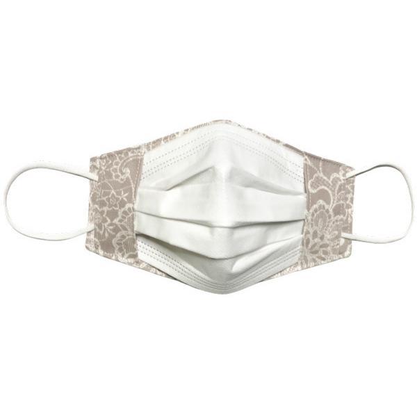レース調プリント 布マスクカバー 不織布マスクがそのまま使える 繊細なタッチが美しいレース調のリアルなプリント   yume-ribbon 12