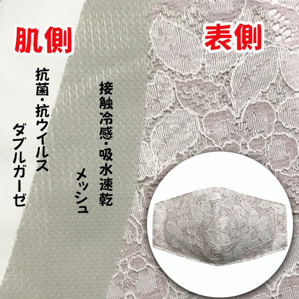 春夏用薄手 レースマスクカバー 繊細なタッチが美しいラッセルレースに接触冷感メッシュ・抗菌ダブルガーゼの3枚仕立て 不織布マスク用布カバーです。|yume-ribbon|12