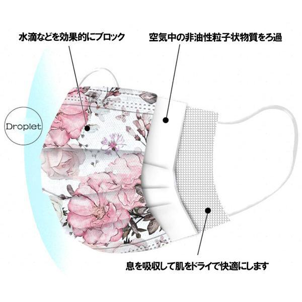 不織布マスク 花柄プリント 使い捨て 5枚セット 耳が痛くなりにくいソフトな4mm平ゴム(一部丸ゴム)使用|yume-ribbon|07