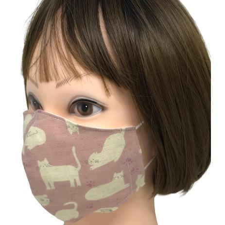不織布マスクがそのまま使える布マスクカバー 白ネコプリント 肌側に抗ウイルス・抗菌素材使用 猫 日本製 コットン100% yume-ribbon 11