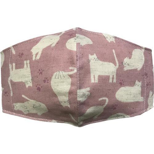 不織布マスクがそのまま使える布マスクカバー 白ネコプリント 肌側に抗ウイルス・抗菌素材使用 猫 日本製 コットン100% yume-ribbon 06