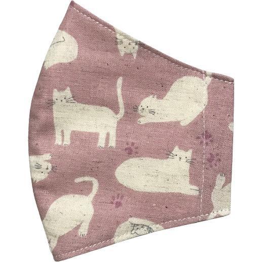 不織布マスクがそのまま使える布マスクカバー 白ネコプリント 肌側に抗ウイルス・抗菌素材使用 猫 日本製 コットン100% yume-ribbon 07