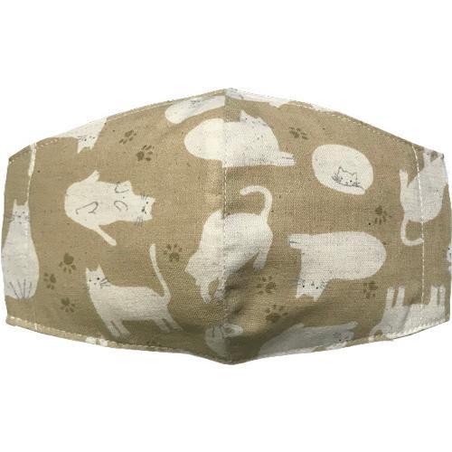 不織布マスクがそのまま使える布マスクカバー 白ネコプリント 肌側に抗ウイルス・抗菌素材使用 猫 日本製 コットン100% yume-ribbon 08