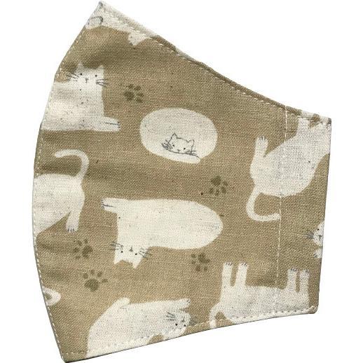 不織布マスクがそのまま使える布マスクカバー 白ネコプリント 肌側に抗ウイルス・抗菌素材使用 猫 日本製 コットン100% yume-ribbon 09