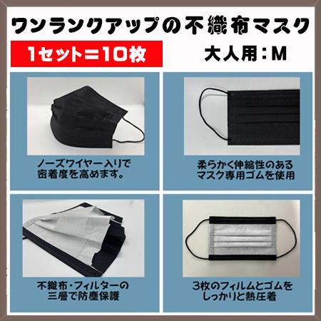 無地カラー不織布マスク10枚 ハイクオリティタイプ 耳が痛くなりにくいソフトな4mm平ゴム使用 yume-ribbon