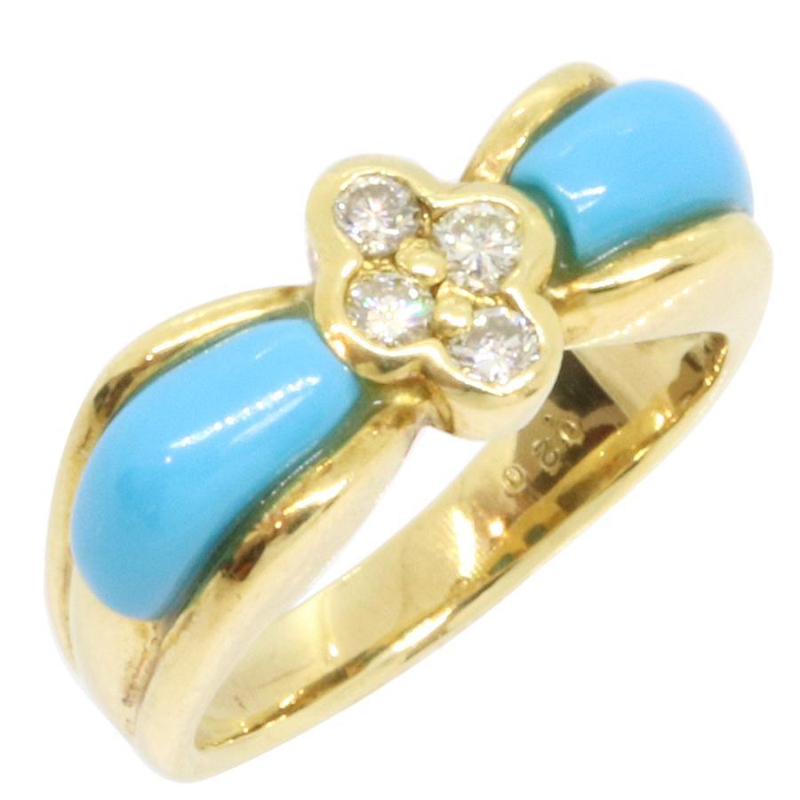 激安ブランド ターコイズ ダイヤモンド リボン リング 0.20ct K18 Diamond YG 11号 リボン ターコイズ イエローゴールド Diamond, サバエシ:16a72d76 --- airmodconsu.dominiotemporario.com