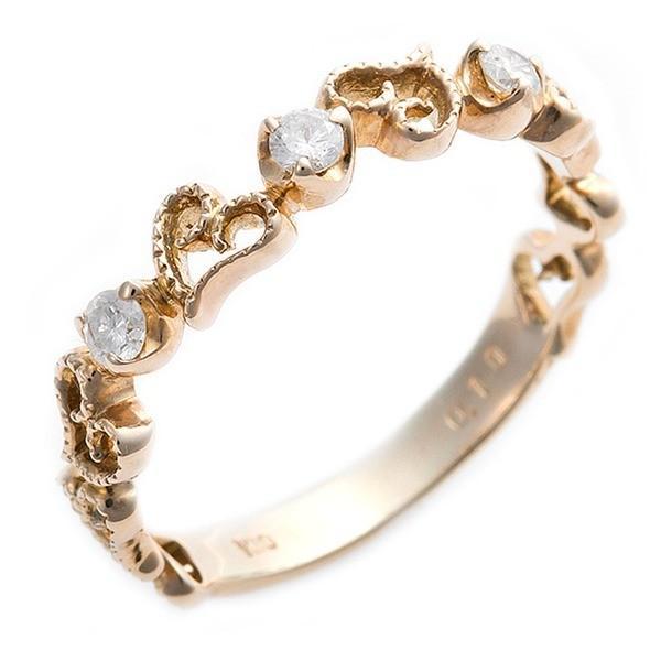 【あす楽対応】 ダイヤモンド リング K10イエローゴールド 0.1ct プリンセス 9.5号 ハート ダイヤリング 指輪 シンプル, イチキチョウ 393397c4