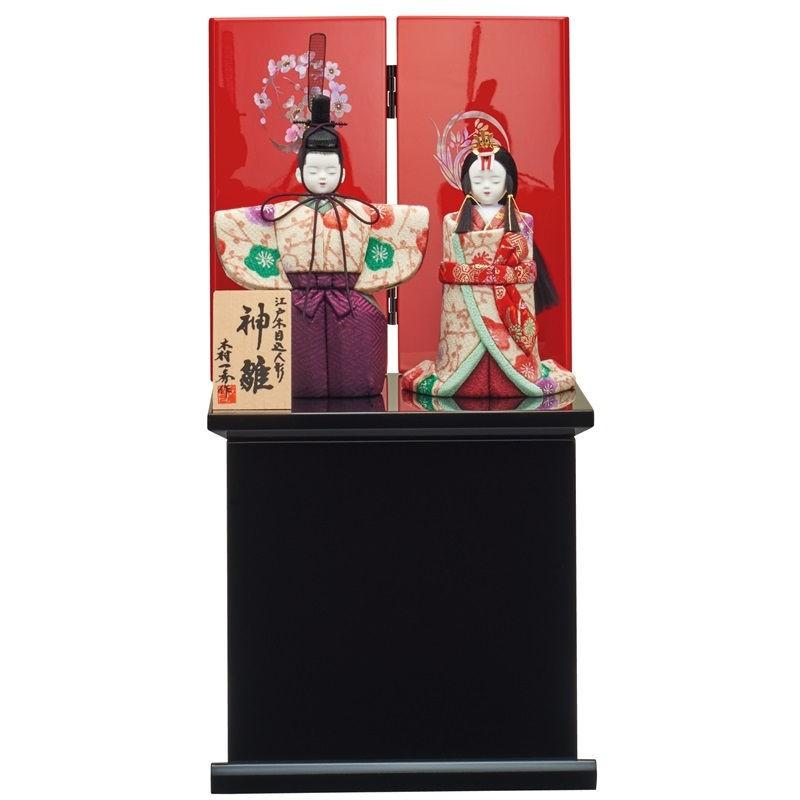 雛人形 一秀 江戸木目込み人形 立雛 収納飾り 幅20cm [i-22-e47]