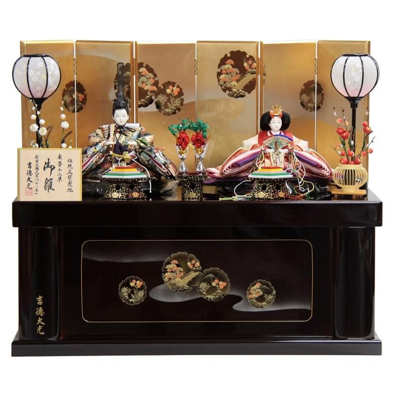 雛人形 親王収納飾り 束帯十二単(2人) 幅72cm ya-29to9 吉徳大光 伝統文様裂地