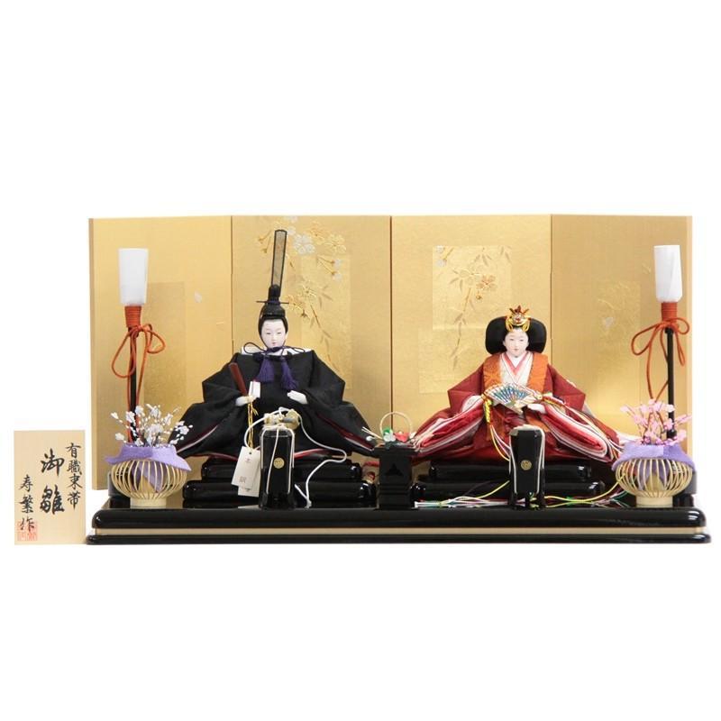 [宅送] 寿繁 親王平飾 2人 親王平飾り 幅60cm 183to1233 金桜 雛人形-季節玩具