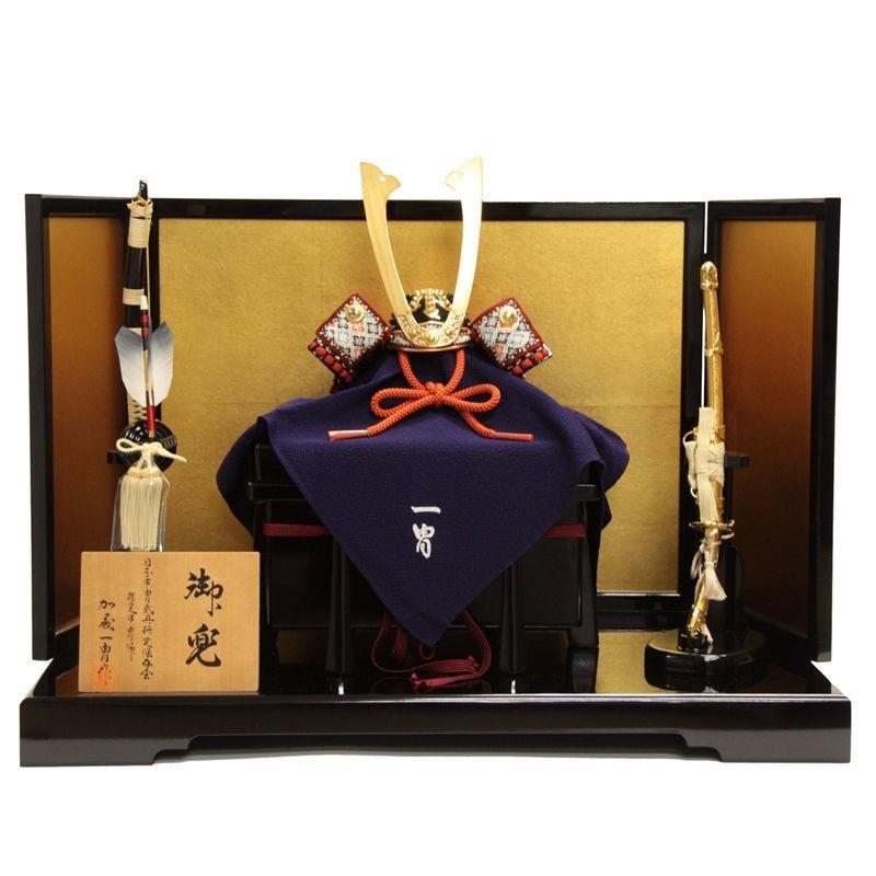 五月人形 平飾り兜飾り 赤糸長鍬形1/4 幅61cm [ ya-17g ]加藤一冑 本小札