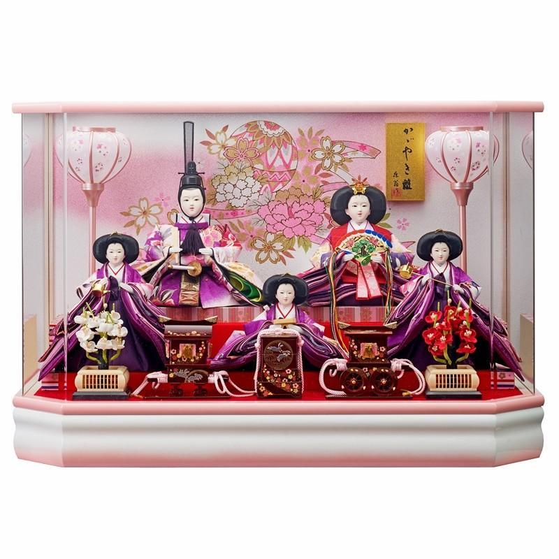 雛人形 5人ケース入り かおり三五芥子五人飾り六角R型桃ぼかし(オルゴール付き) fn-23 ケース入 ケース飾