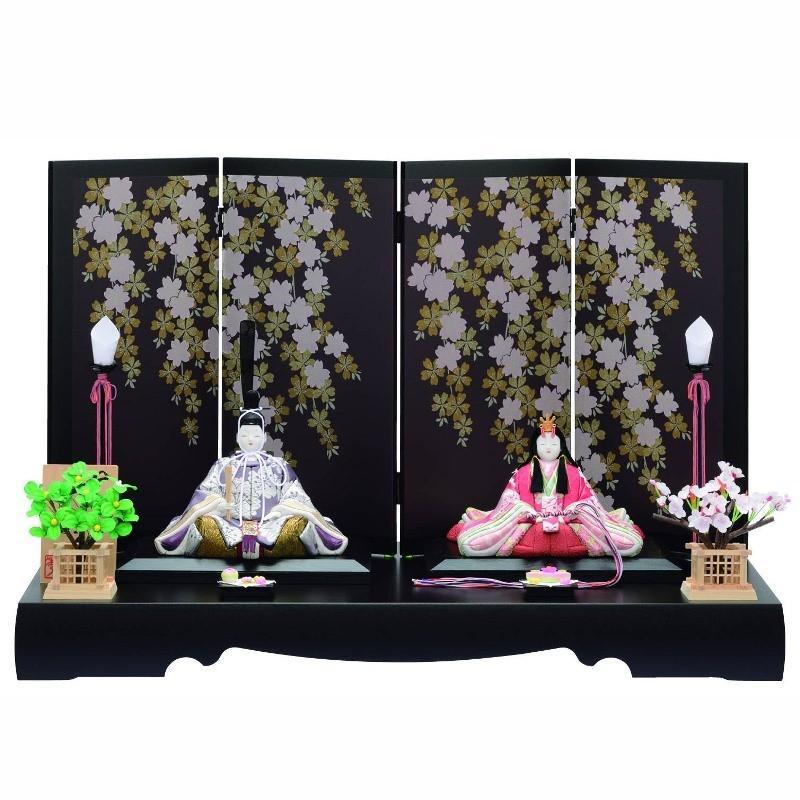 激安正規  i-15-c147 江戸木目込み人形 雛人形 幅70cm 一秀 平飾り 親王-季節玩具