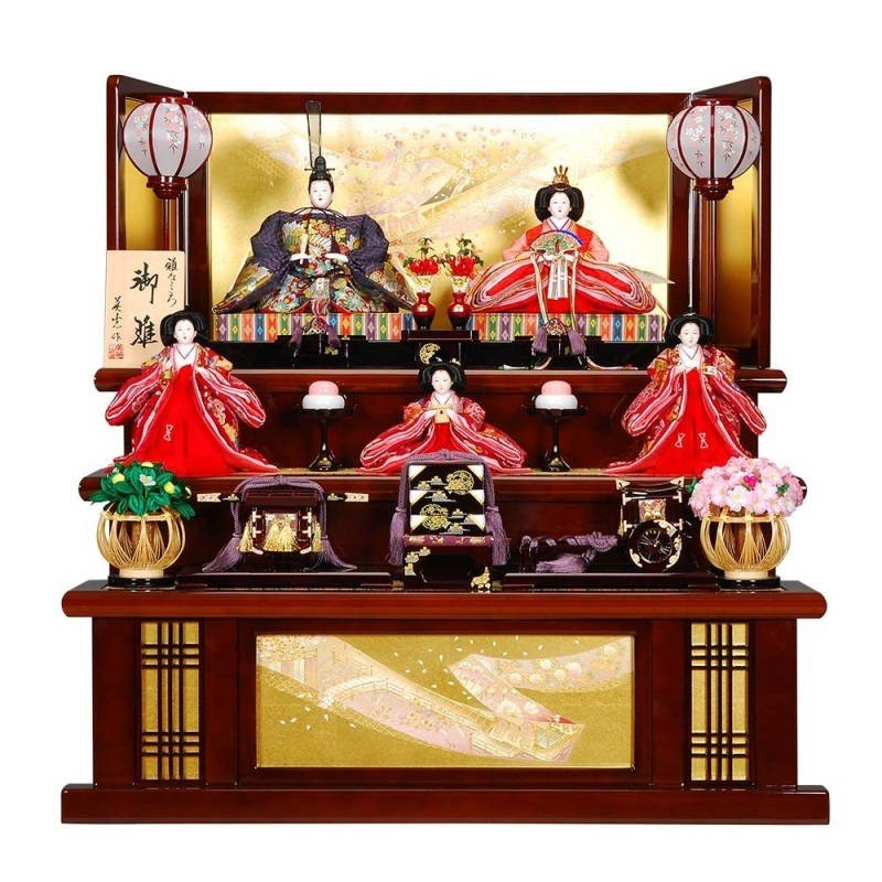 雛人形 5人三段飾り 光悦(こうえつ)セット溜/黄塗り金彩四季屏風 sb-1-16