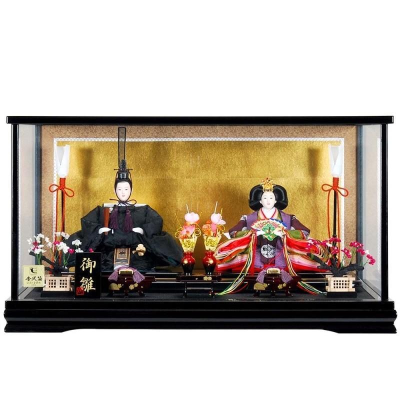 雛人形 親王ケース入り 徳川雛黒塗り sb-10-124 親王ケース飾 親王ケース入