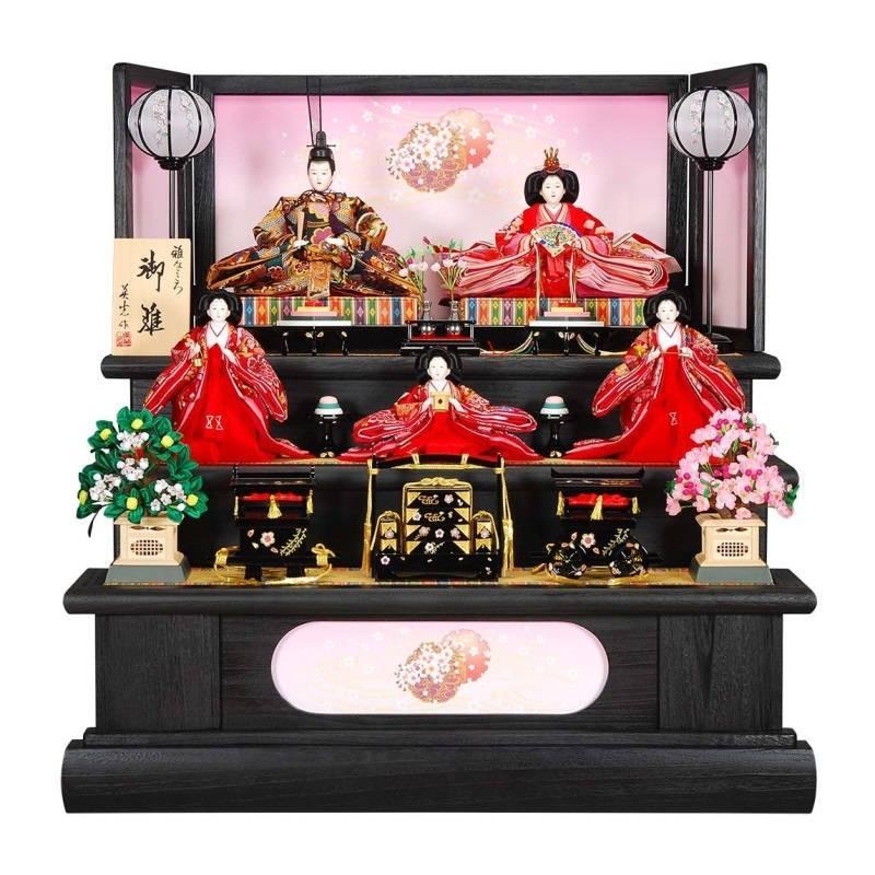 雛人形 5人三段飾り 華(はな)セット黒木目塗り雪輪の舞屏風 sb-2-23