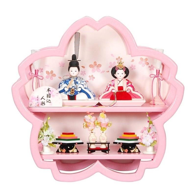 雛人形 木目込み 親王二段飾り 桜飾り台舞桜パールピンク塗り桜型飾り台 ピンクのお雛様 sb-7-93