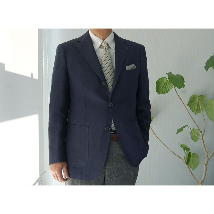 紺ブレザー ビジネスジャケット メンズ  シングル アンジェリコ3つボタン段返り 背抜き 紺ブレ 04043|yumesse