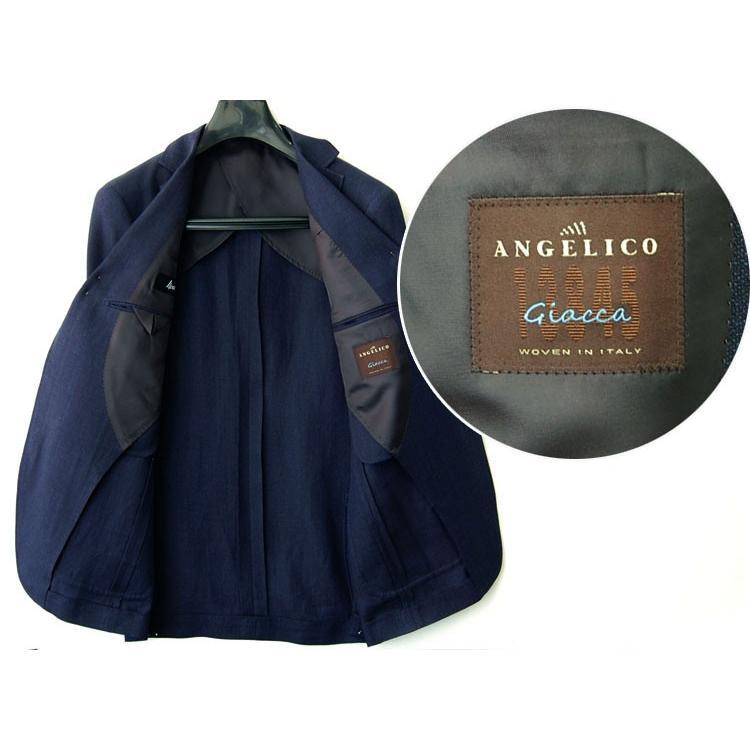 紺ブレザー ビジネスジャケット メンズ  シングル アンジェリコ3つボタン段返り 背抜き 紺ブレ 04043|yumesse|03