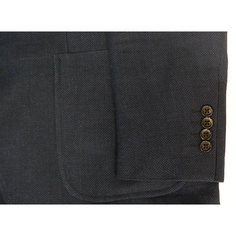 紺ブレザー ビジネスジャケット メンズ  シングル アンジェリコ3つボタン段返り 背抜き 紺ブレ 04043|yumesse|04