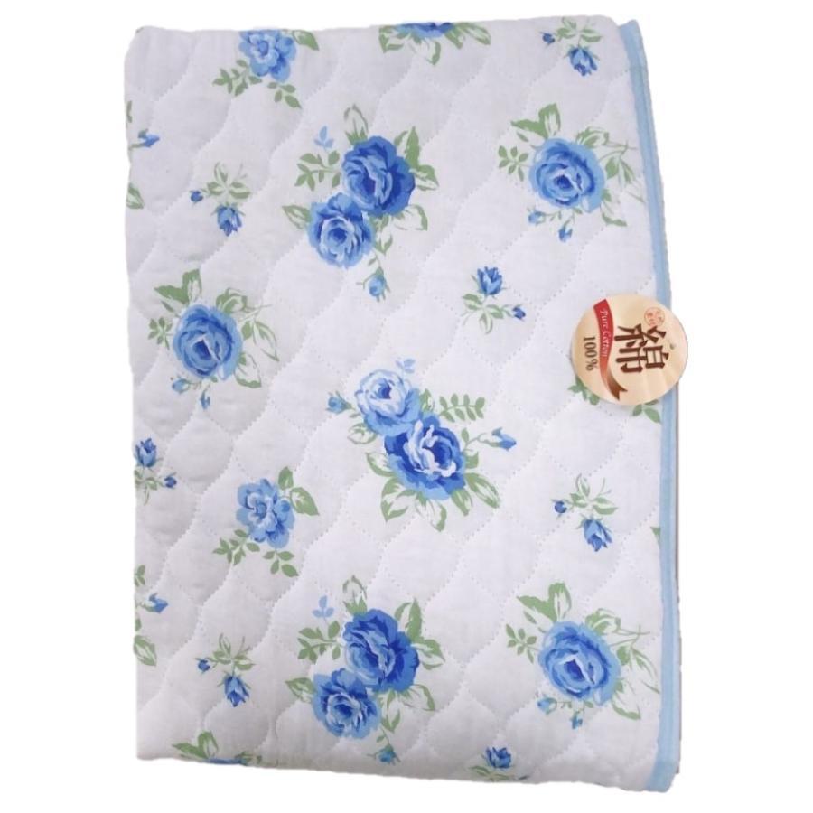 敷きパッド シングル 100×205cm 二重ガーゼ シングルサイズ 花柄 敷パッド S ガーゼ生地 肌にやさしいガーゼ素材 丸洗いOK ベッドパット yumesse 16