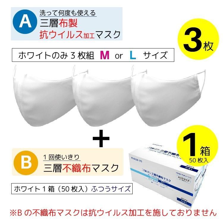 洗える 布マスク(抗ウイルス 抗菌 フルテクト加工マスク3枚組)+不織布マスク50枚入 花粉 立体 吸汗速乾 ※不織布マスクはフルテクト加工しておりません yumesse 16