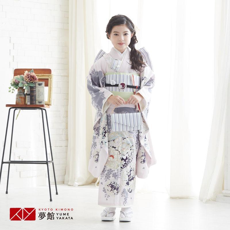 10〜12月利用 七五三 7歳 七歳 着物 レンタル NATURAL BEAUTY  ピンク 椿梅花丸に牡丹 女の子 四つ身 N072|yumeyakata