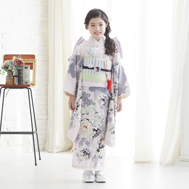 10〜12月利用 七五三 7歳 七歳 着物 レンタル NATURAL BEAUTY  ピンク 椿梅花丸に牡丹 女の子 四つ身 N072|yumeyakata|02