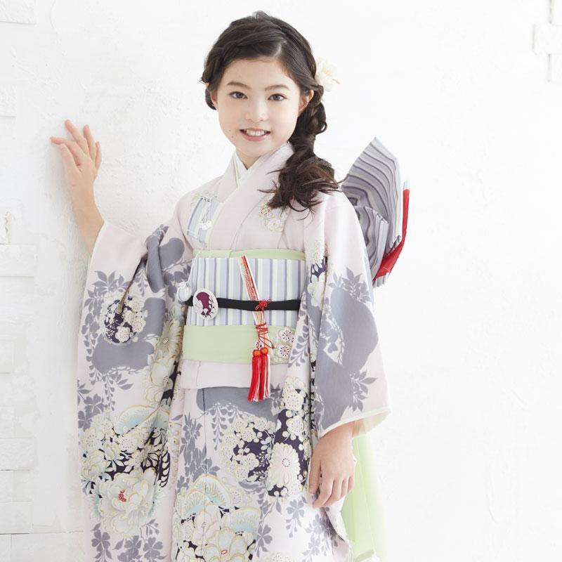 10〜12月利用 七五三 7歳 七歳 着物 レンタル NATURAL BEAUTY  ピンク 椿梅花丸に牡丹 女の子 四つ身 N072|yumeyakata|11