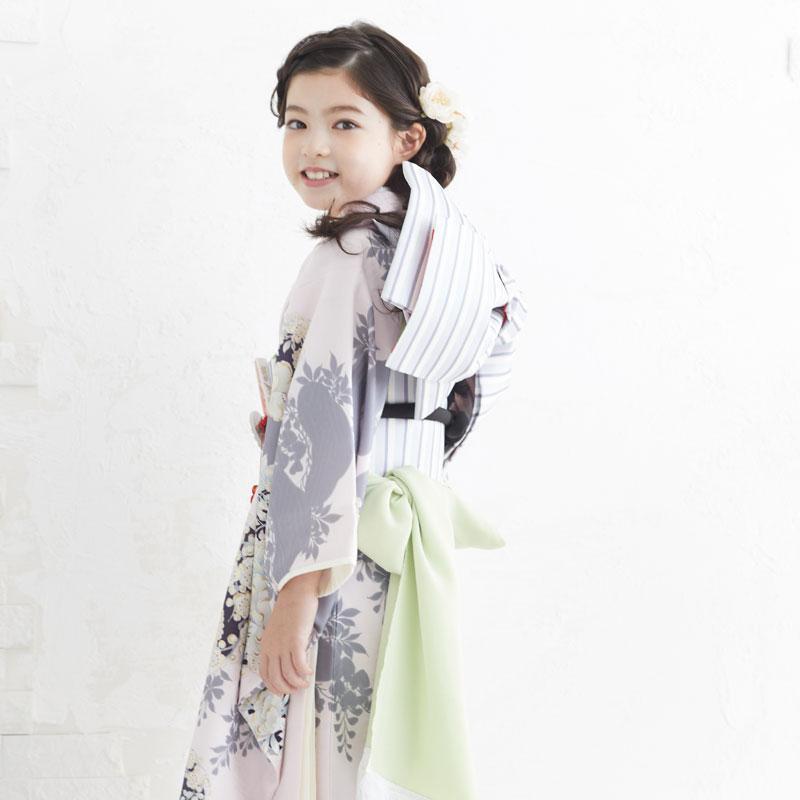 10〜12月利用 七五三 7歳 七歳 着物 レンタル NATURAL BEAUTY  ピンク 椿梅花丸に牡丹 女の子 四つ身 N072|yumeyakata|12