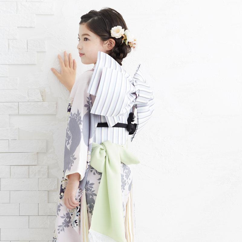 10〜12月利用 七五三 7歳 七歳 着物 レンタル NATURAL BEAUTY  ピンク 椿梅花丸に牡丹 女の子 四つ身 N072|yumeyakata|14