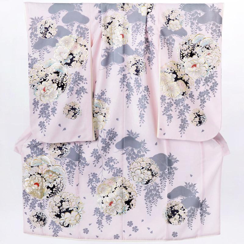 10〜12月利用 七五三 7歳 七歳 着物 レンタル NATURAL BEAUTY  ピンク 椿梅花丸に牡丹 女の子 四つ身 N072|yumeyakata|15
