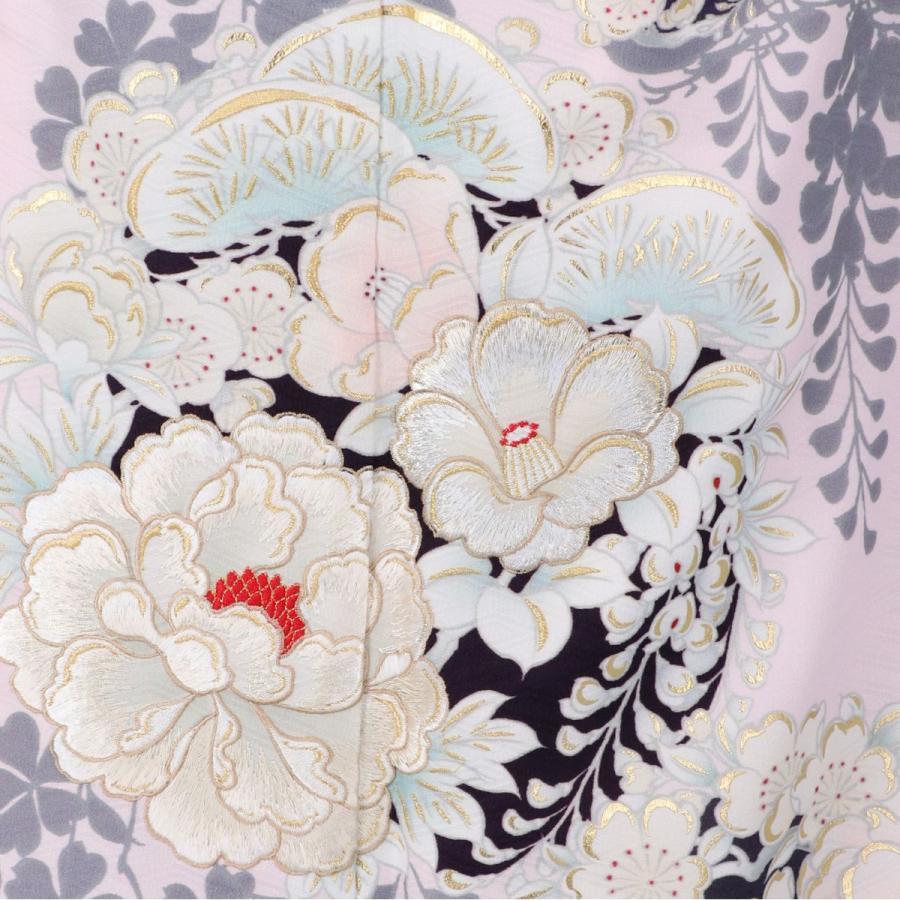 10〜12月利用 七五三 7歳 七歳 着物 レンタル NATURAL BEAUTY  ピンク 椿梅花丸に牡丹 女の子 四つ身 N072|yumeyakata|16