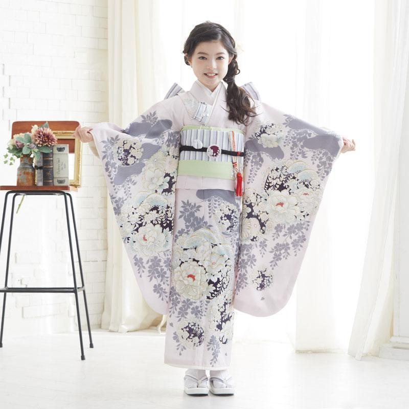 10〜12月利用 七五三 7歳 七歳 着物 レンタル NATURAL BEAUTY  ピンク 椿梅花丸に牡丹 女の子 四つ身 N072|yumeyakata|03