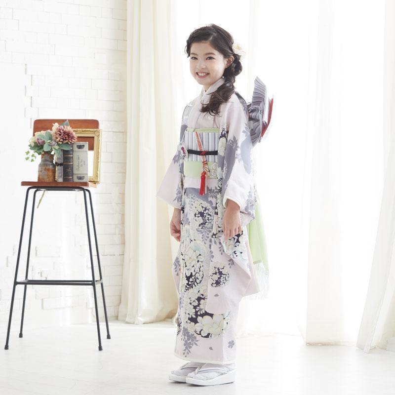 10〜12月利用 七五三 7歳 七歳 着物 レンタル NATURAL BEAUTY  ピンク 椿梅花丸に牡丹 女の子 四つ身 N072|yumeyakata|04
