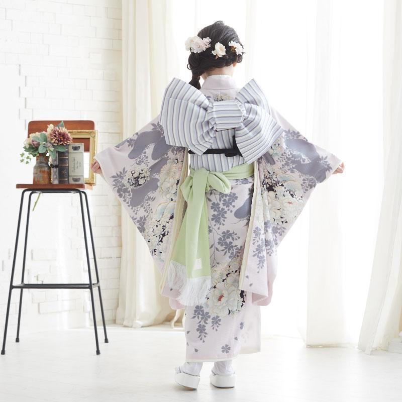 10〜12月利用 七五三 7歳 七歳 着物 レンタル NATURAL BEAUTY  ピンク 椿梅花丸に牡丹 女の子 四つ身 N072|yumeyakata|05