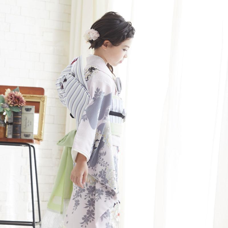 10〜12月利用 七五三 7歳 七歳 着物 レンタル NATURAL BEAUTY  ピンク 椿梅花丸に牡丹 女の子 四つ身 N072|yumeyakata|06