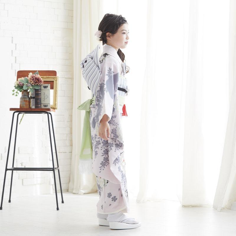 10〜12月利用 七五三 7歳 七歳 着物 レンタル NATURAL BEAUTY  ピンク 椿梅花丸に牡丹 女の子 四つ身 N072|yumeyakata|07