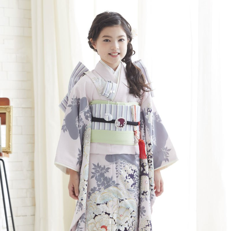 10〜12月利用 七五三 7歳 七歳 着物 レンタル NATURAL BEAUTY  ピンク 椿梅花丸に牡丹 女の子 四つ身 N072|yumeyakata|08