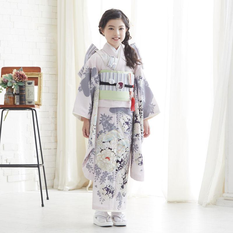 10〜12月利用 七五三 7歳 七歳 着物 レンタル NATURAL BEAUTY  ピンク 椿梅花丸に牡丹 女の子 四つ身 N072|yumeyakata|09