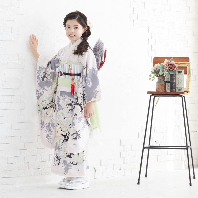 10〜12月利用 七五三 7歳 七歳 着物 レンタル NATURAL BEAUTY  ピンク 椿梅花丸に牡丹 女の子 四つ身 N072|yumeyakata|10