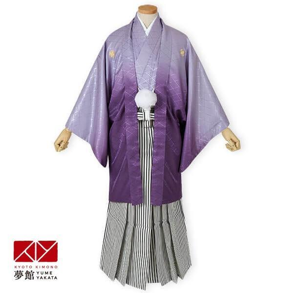 2〜12月利用 紋付 羽織袴 レンタル 結婚式 式典 「Y019-Y165 紫ぼかし紋付×縞袴」|yumeyakata