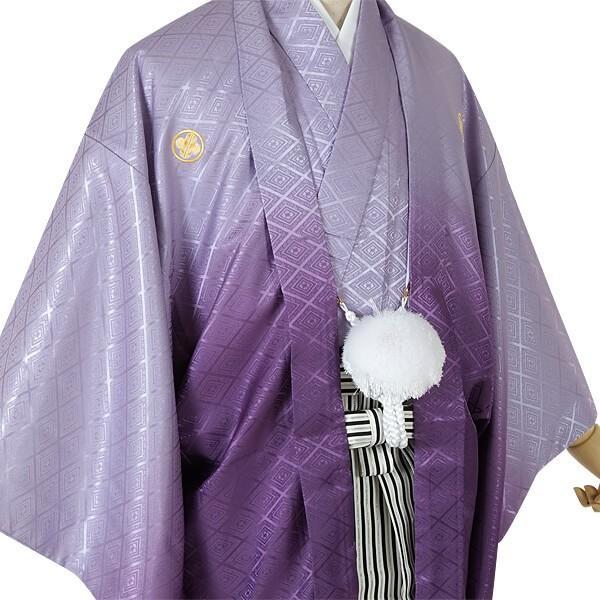 2〜12月利用 紋付 羽織袴 レンタル 結婚式 式典 「Y019-Y165 紫ぼかし紋付×縞袴」|yumeyakata|02