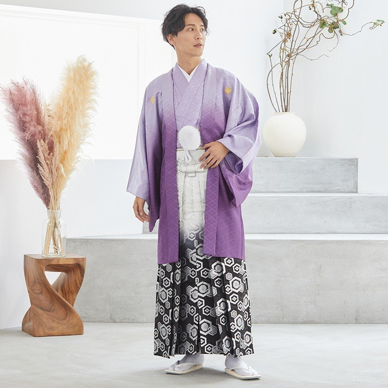 2〜12月利用 紋付 羽織袴 レンタル 結婚式 式典 「Y020-Y170 紫ぼかし紋付×柄袴」|yumeyakata|02