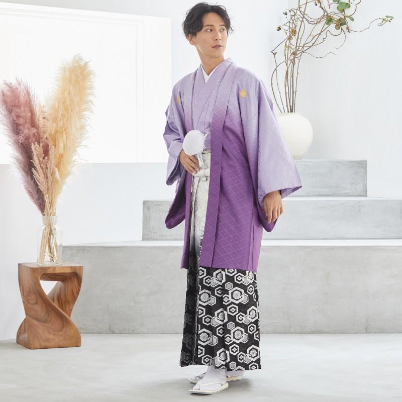 2〜12月利用 紋付 羽織袴 レンタル 結婚式 式典 「Y020-Y180 紫ぼかし紋付×柄袴」|yumeyakata|03