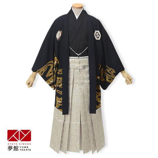 1月利用 紋付 羽織袴 レンタル 成人式 卒業式 黒 鯉×柄袴 対応身長173·177cm YS033-Y175
