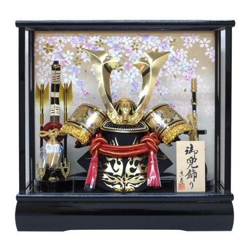 五月人形ケース 兜飾り10号中鍬角兜ケース飾りYN50305GKC 吹返し彫金 kabuto-49