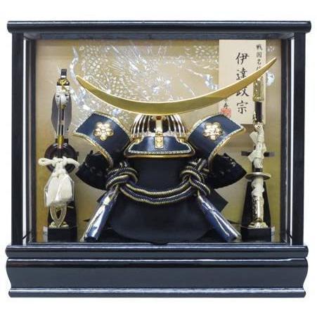 写真立てオルゴール付き京寿 五月人形 兜飾り 間口43×奥行30×高さ41cm 12号中鍬角総金具兜ケース飾り YN50151GKC