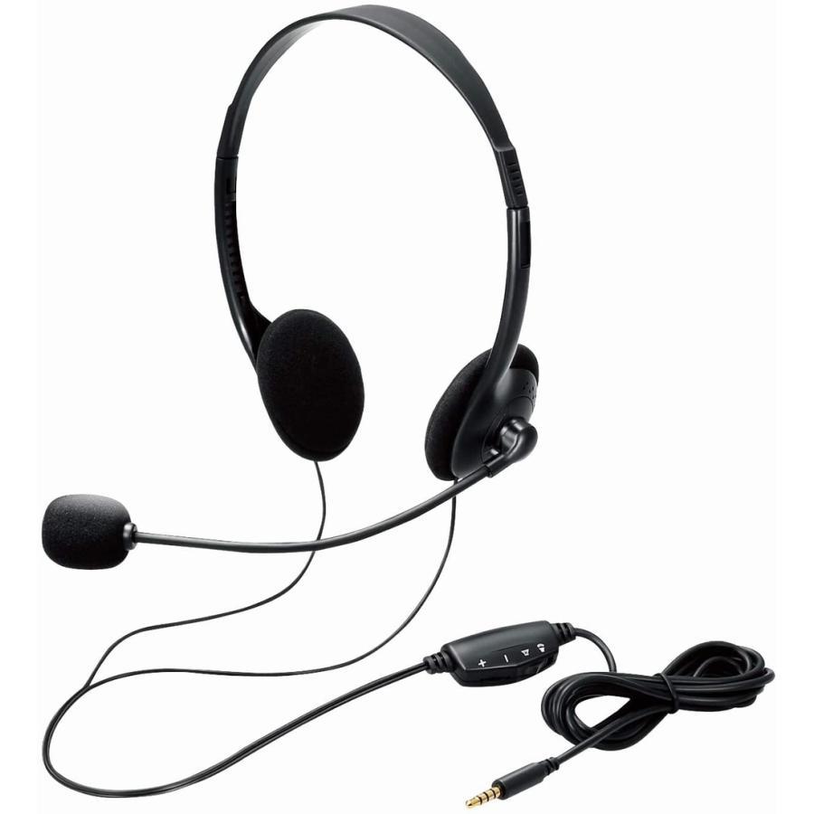 エレコム ヘッドセット Φ30mmドライバー 両耳 4極ミニプラグ+変換ケーブル ブラック ケーブル長180cm HS-102TBK .|yusyo-shopping