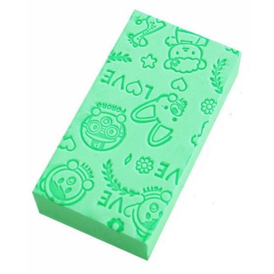 ベビーバススポンジ 子供用スポンジ 《グリーン》 吸水性 日本未発売 赤ちゃん お風呂用 両用 出群 . 大人